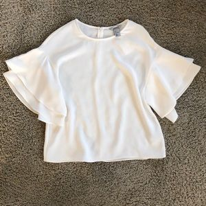 H&M white blouse with bell sleeves